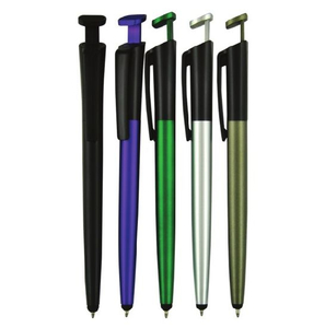 Stylus Phone Holder Plastic Ball Pen with Customized Logo Imprint